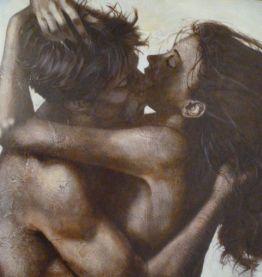 """Huile sur toile """"L'Etreinte"""" 76 x 92,5 cm signée Guy Couttin"""