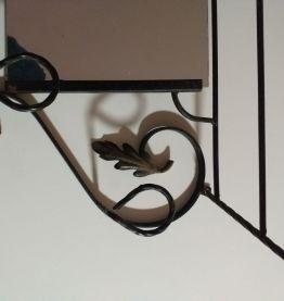 Etagere porte manteau mural en fer forgé et miroir