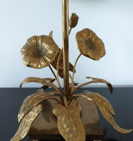 Lampe vintage années 70 motif fleural laiton