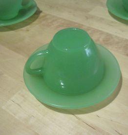 6 grandes tasses anciennes en verre vintage verte