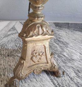lampe ancienne pied laiton et abat-jour d'époque,