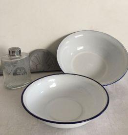 Duo de bassines émaillées, cuisine, campagne chic