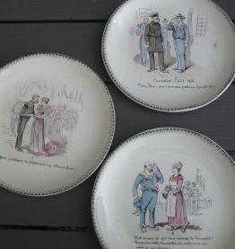 lot 6 assiettes parlantes XIXe siècle(vendues à Drouot)