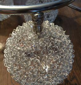 Plafonnier vintage 5 feux en chrome argenté. Années 1970