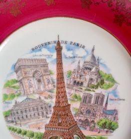 Assiette porcelaine d'art, décor de Paris