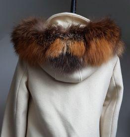 manteau beige col fourrure femme