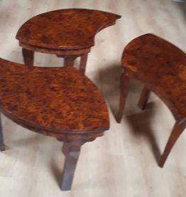 Table basse gigogne en loupe de thuya 1960