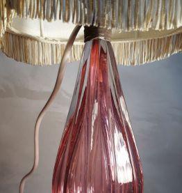 lampe  cristal murano verre soufflè  rose  Italie  magnifiqu