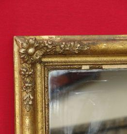 Miroir de cheminée doré fleuri ancien