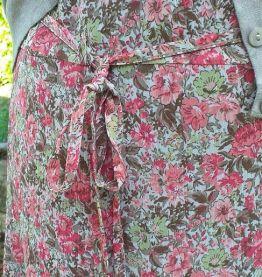 Jupe 65 cm voile doublée fleurie T. 42