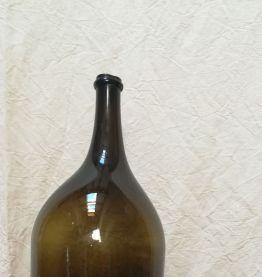 Grande bouteille ancienne en verre soufflé et bullé
