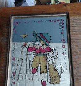 ancien miroir avec dessin