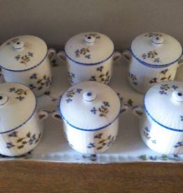 Pots à crème et plateau Porcelaine de Limoges