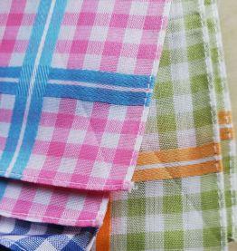 6 mouchoirs en coton lavables vintage Vichy