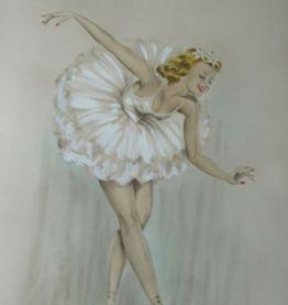 Ancienne grande lithographie signée danseuse