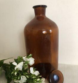 Flacon d'apothicaire avec bouchon, couleur ambrée