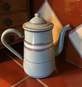 BELLE CAFETIÈRE ÉMAILLÉE  VERTE À RAYURES