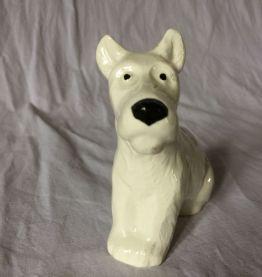 statuette chien fox faïence de Sarreguemines Art Déco