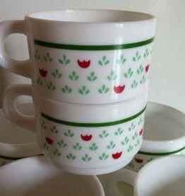 Lot de 6 tasses vintage Arcopal