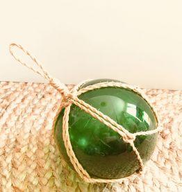 Flotteur de pêche vintage en verre soufflé vert