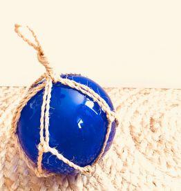 Flotteur de pêche vintage en verre soufflé bleu