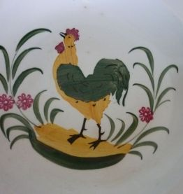 plat creux motif de coq faience d'onnaing nord ancien