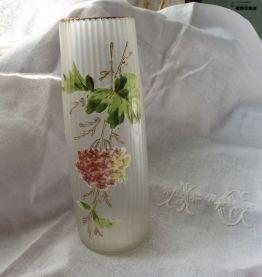 vase givré dépoli émaillé hortensias / 1920