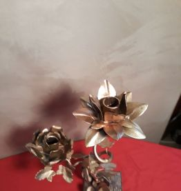 chandelier  en fer motif   fleural et pied  en fonte d acier