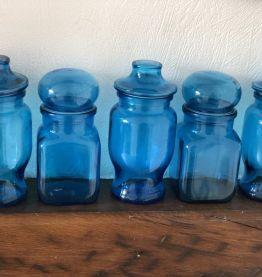 Série de 5 pots apothicaire bleu