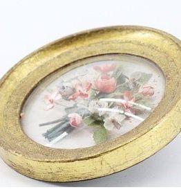 cadre ancien globe verre fleurs