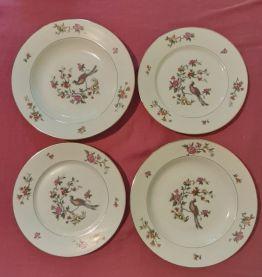 4 assiettes (2 plates + 2 creuses) anciennes, P.N France