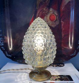 Lampe à poser en verre moulé pressé pomme de pin