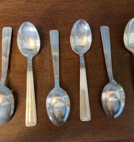 Set de 6 grandes cuillères en métal argenté 1950