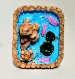 Bague réglable, étang de fée carré, poissons roses