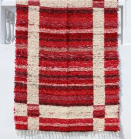 Tapis 170 x 240 cm - Rouge et blanc - Reversible