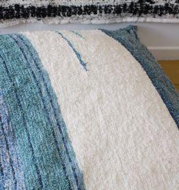 Housse de pouf + rembourrage - 140 x 140 cm - Bleu et blanc