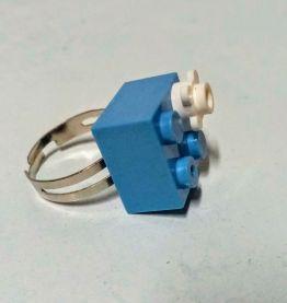 Bague Lego bleu à fleur, réglable argentée, pour tous