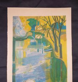 Lithographie originale couleurs Georges Lambert - Paysage  b