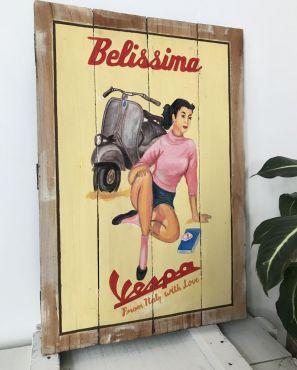 """Tableau décoratif en bois style palette """"Vespa"""""""
