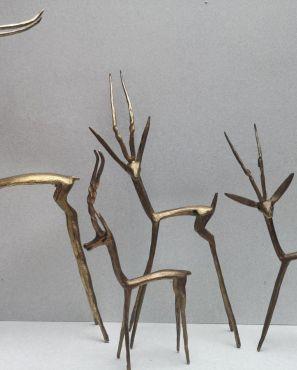 4 belles antilopes en laiton