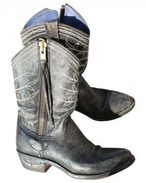 Boots cuir Zadig & Voltaire  35/ 36 gris noir tiag pelle