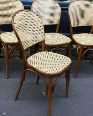 Suite 8 chaises bistrot cannage vintage 1960