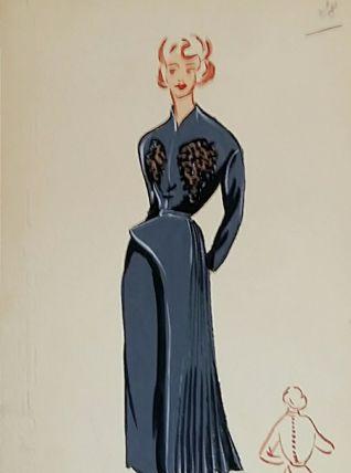 Croquis Mode 1950 série de robes Bleu