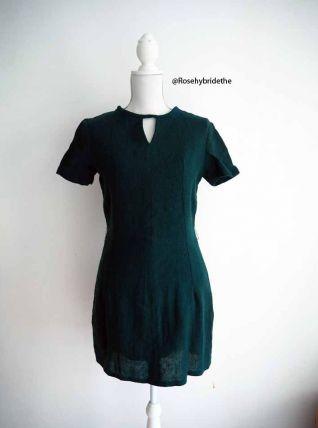 Robe babydoll en laine vert sapin vintage 50's 60's