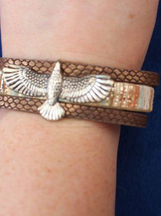 bracelet jonc rond effet argent simili cuir aigle