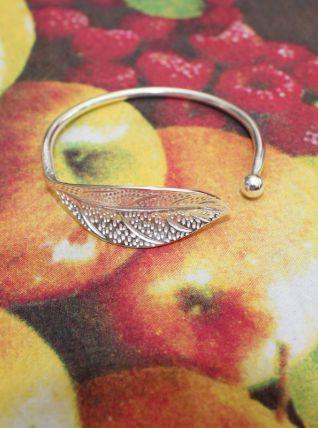 bracelet jonc feuille rond effet argente