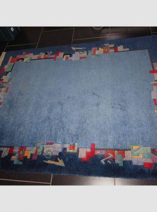 Tapis Népalais laine Bleu - Vintage