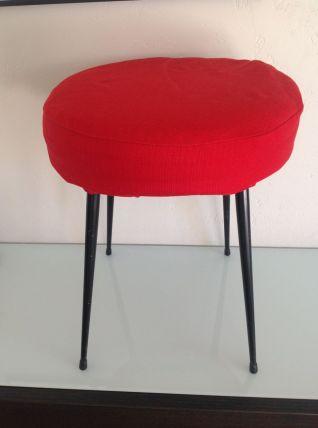 Tabouret rond vintage rouge et pieds compas noirs