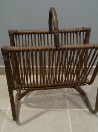 Porte revue vintage bambou rotin