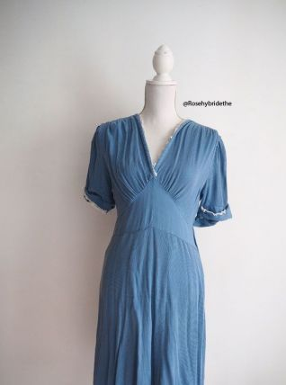 Robe bleue lavande vintage 30's 40's